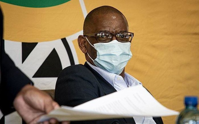 ANC secretary-general Ace Magashule addresses a media briefing after his appearance in the Bloemfontein Magistrates Court on fraud and corruption charges on 19 February 2021. Picture: Xanderleigh Dookey Makhaza/Eyewitness News .