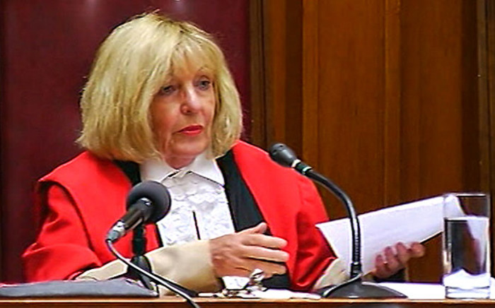 A screengrab from a television broadcast shows Judge Jeanette Traverso while reading out her finding on the application to have Shrien Dewani discharged and acquitted on 8 December 2014. Picture: EWN.