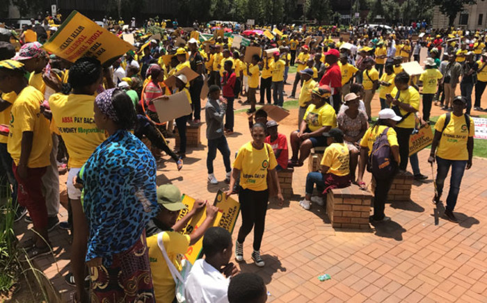 ANC Youth League members march to Absa in Johannesburg's CBD. Picture: Kgothatso Mogale/EWN.