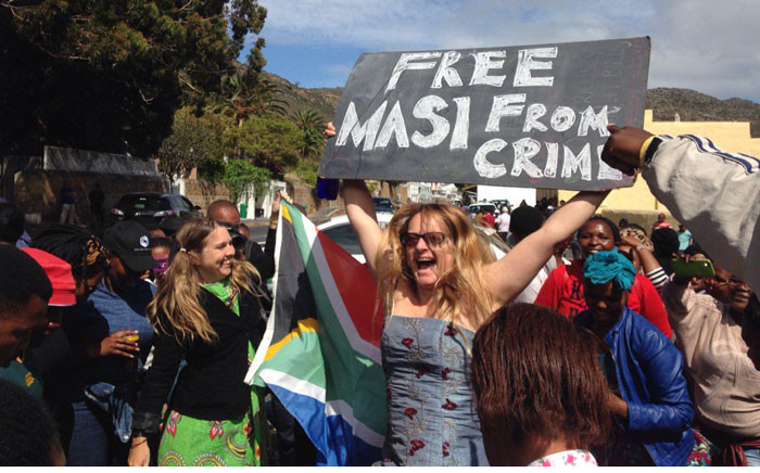 Masiphumelele residents said they have had enough of crime in the area. They have gathered outside Simons Town Magistrates Court in support of community activist Lubabalo Vellem. PictureL Lauren Isaacs/EWN.