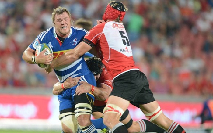file: Stormers eighth man Duane Vermeulen is tackled by two Lions players. Picture: Facebook.com
