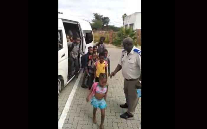 A video screengrab showing Limpopo transport officials counting 58 children who were crammed into a 14-seater minibus taxi on 20 January 2020.