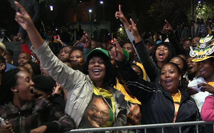 ANC supporters sing their hearts out after being addressed by President Jacob Zuma at the party's celebrations on 10 May 2014 following the party's national election victory. Picture: Reinart Toerien/EWN
