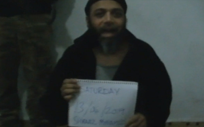 A screenshot of a video of abducted SA journalist Shiraaz Mohamed sent to Gift of the Givers. Picture: Gift of the Givers.