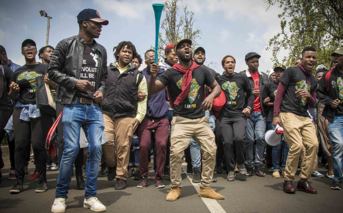 FILE: Students at Wits protest on campus after Minister of Higher Education Blade Nzimande failed to deliver a free tertiary education policy. Picture: Thomas Holder/EWN.
