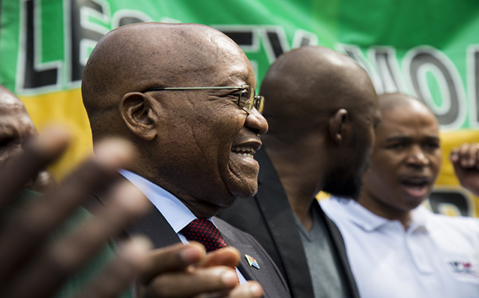 Jacob Zuma outside the home of late Winnie Madikizela-Mandela. Picture: Kayleen Morgan/EWN