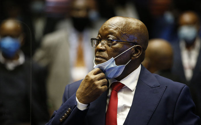 FILE: Former South African President Jacob Zuma stands in the dock during the recess of his corruption trial at the Pietermaritzburg High Court in Pietermaritzburg, South Africa, on 26 May 2021. Picture: Phill Magakoe/AFP