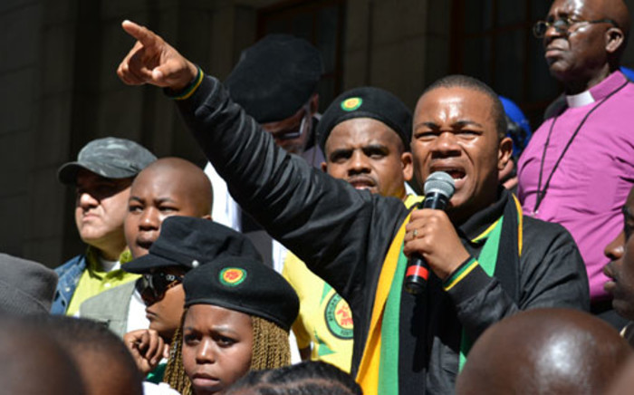 ANC Youth League Western Cape Chairperson Khaya Yozi addresses the crowd outside the provincial legislature on 27 August 2012. Picture: Aletta Gardner/EWN