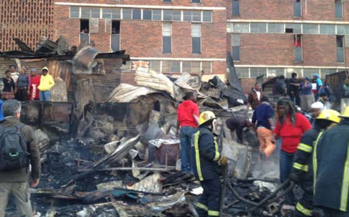 FILE: 10 shacks caught alight on 25 June behind the Helen Joseph Hostel in Alexandra. Picture: Jacob Moshokoa/EWN