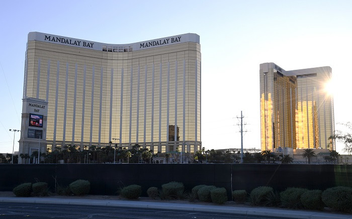In this photo taken on 29 September 2019 a fence surrounds the Las Vegas Village across from Mandalay Bay Resort and Casino almost two years after a massacre at the site in Las Vegas, Nevada. Picture: AFP