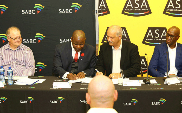 ASA president Aleck Skhosana and SABC COO Ian Plaatjes signing the new broadcast agreement at the SABC in Johannesburg. On extreme left is ASA's Acting CEO and on extreme right is SABC's Group CEO Madoda Mxakwe.  Picture: Lungelo Mbulwana/SABC.
