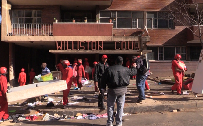 Belongings of residence from the Williston flats being thrown out on the streets.Picture Kgothatso Mogale/EWN