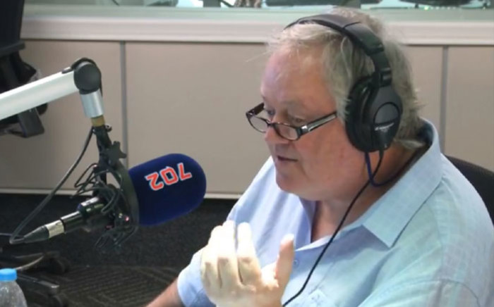 A screengrab of 'The President's Keepers' author Jacques Pauw in studio with Radio 702 host Eusebius McKaiser.
