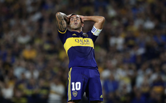 Boca Juniors' forward Carlos Tevez reacts after missing a scoring chance against Gimnasia y Esgrima La Plata during their Argentina First Division 2020 Superliga Tournament football match at La Bombonera stadium, in Buenos Aires, on 7 March 2020. Picture: AFP
