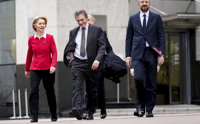 European Commission President Ursula von der Leyen (L), European Council President Charles Michel (R) and European Parliament President David Sassoli (C) arrive for a meeting near The European Parliament in Brussels on 31 January 2020. Picture: AFP