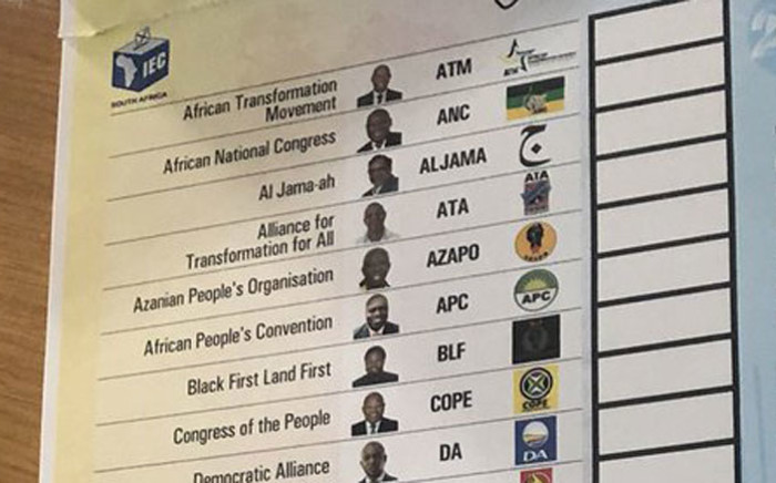 A ballot paper for the 2019 general elections. Picture: EWN
