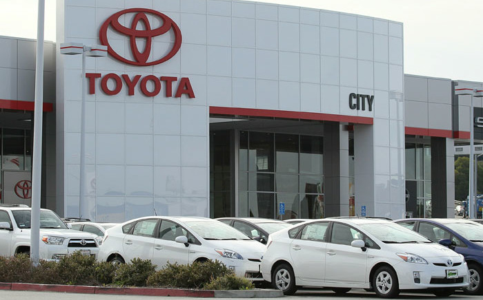 Brand new Toyota Prius hybrids sit on the sales lot at City Toyota on 30 November 2010 in Daly City, California. Picture: Justin Sullivan/Getty Images/AFP.