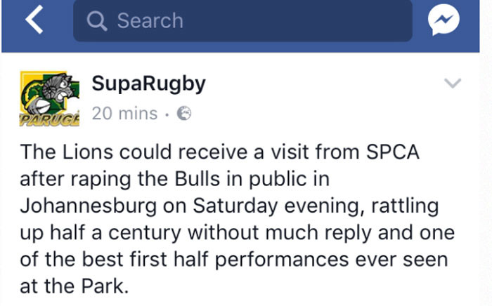 """The Facebook post of a blog using the word """"rape""""  to describe how one rugby team beat another. Picture: Facebook."""