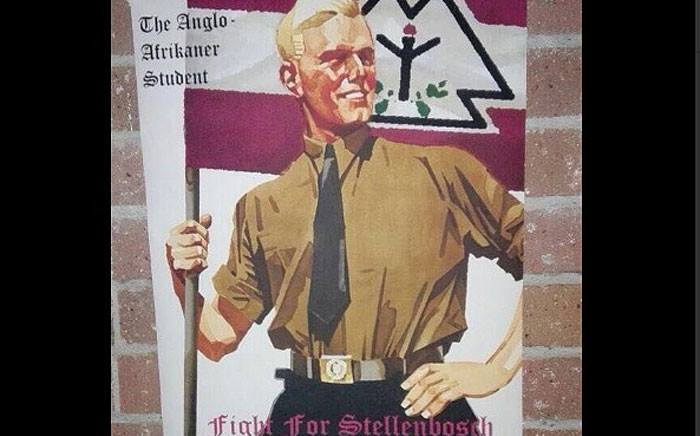 """Posters at Stellenbosch University, with a heading """"The Anglo Afrikaner Student"""" and a slogan """"Fight for Stellenbosch"""", have caused a stir. Picture: @ForeverShakes/Twitter"""