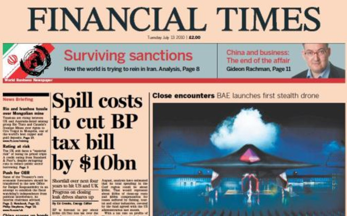 British newspaper, the Financial Times. Picture: Supplied