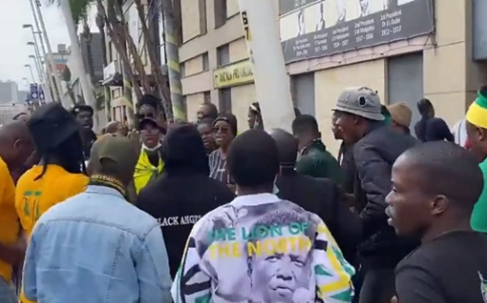 A screengrab of the ANCYL in KwaZulu-Natal picketing outside the party's provincial offices in Durban, over what the youth league says is a 'concerted effort to exclude young people in the PR lists in all regions in the province'. Picture: Nhlanhla Mabaso/Eyewitness News