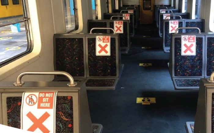 Metrorail in the Western Cape is preparing to resume limited services. Commuters are required to maintain physical distance outside the station, inside the station, on the platforms, and in the trains as indicated by markers. Picture: Supplied.