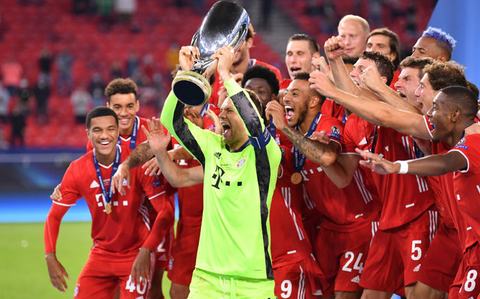 Bayern Munich players celebrate their UEFA Super Cup win over Sevilla on 24 September 2020. Picture: @ChampionsLeague/Twitter