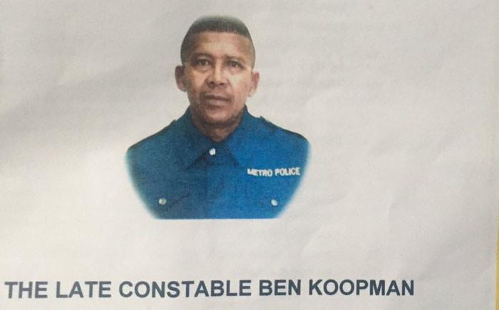 A memorial service  has been held for slain Metro Police Officer Constable Ben  Koopman,in Khayelitsha on 24 February. Picture: Xolani Koyana/ EWN