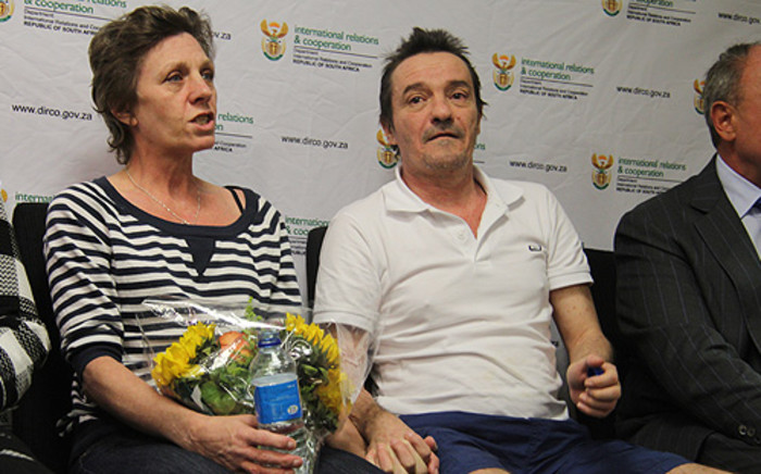 Debbie Calitz and Bruno Pelizzari shortly after their release. Picture: Taurai Maduna/EWN