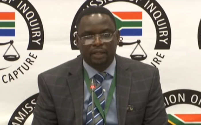 A screengrab of Ipid investigator Innocent Khuba appearing at the state capture inquiry on 27 September 2019. Picture: SABC/YouTube
