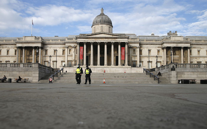 Police officers patrol in Trafalgar Square in central London as England enters a second coronavirus lockdown on 5 November 2020. Picture: AFP
