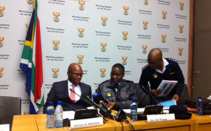 Police Minister Nathi Mthethwa and Police Commissioner Riah Phiyega at the 2011/2012 crime statistics release. Picture: Rahima Essop/EWN.