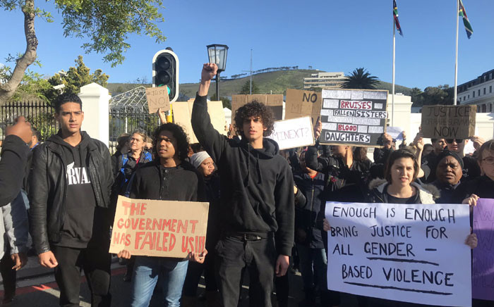 Capetonians gathered at Parliament on 4 September to protest against gender-based violence in the city and country. Picture: Lizell Persens/EWN