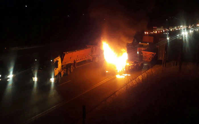 The overnight demonstration on the N3 forced the closure of the busy highway in both directions at Mooi River after angry protesters blocked the road. Picture: Supplied