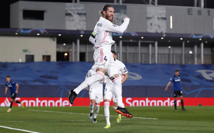 Real Madrid's Sergio Ramos celebrates a goal against Atalanta on 16 March 2021. Picture: @realmadrid/Twitter.