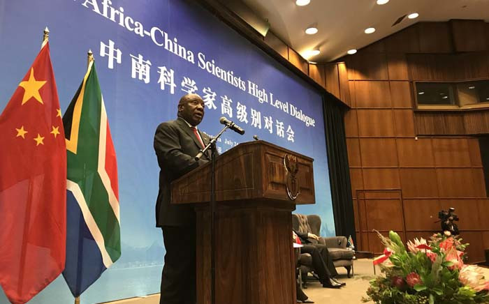 President Cyril Ramaphosa delivers his remarks at the South Africa-China Scientists High-Level Dialogue at the CSIR Convention Centre in Pretoria on 24 July 2018. Picture: @PresidencyZA/Twitter