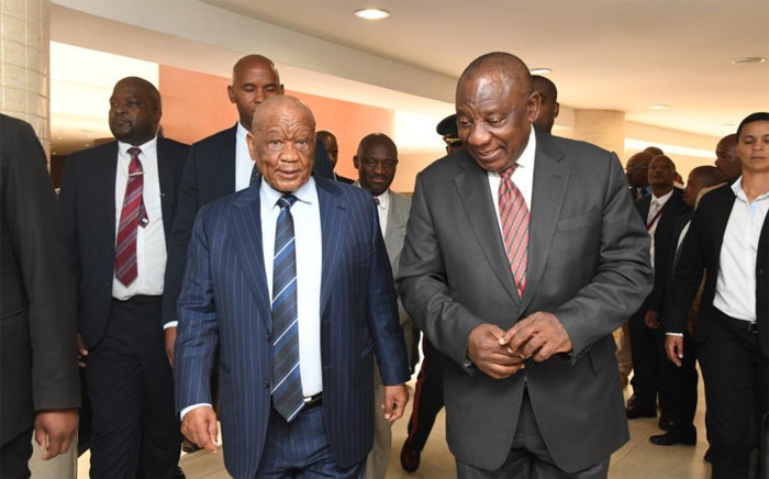 President Cyril Ramaphosa (R) and Lesotho Prime Minister Thomas Thabane (L) on his working visit to the Mountain Kingdom on 27 November 2019. Picture: @PresidencyZA/Twitter