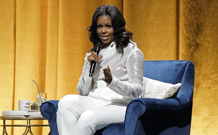 FILE: Former US first lady Michelle Obama speaks at the opening of her multi-city book tour at the United Centre in Chicago, Illinois. Picture: AFP.