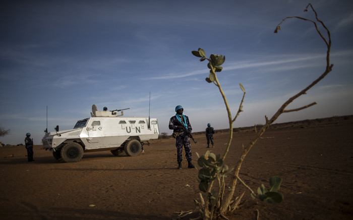 FILE: Peacekeepers from the United Nations Multidimensional Integrated Stabilization Mission in Mali (MINUSMA) patrol Menaka in Mali. Picture: United Nations Photo.