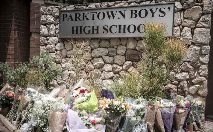FILE: Flowers laid outside Parktown Boys' High School on 20 January 2020 after one of its pupils Enock Mpianzi died at a school camp in the North West. Picture: Abigail Javier/Eyewitness News