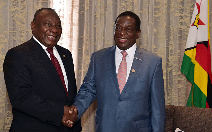 President Cyril Ramaphosa with Zimbabwean President Emmerson Mnangagwa attend 38th SADC Summit in Namibia. Picture: GCIS.