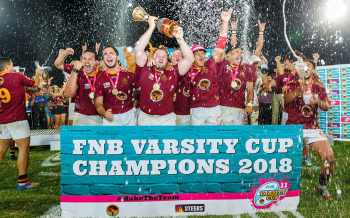 Stellenbosch University players celebrate their Varsity Cup title win. Picture: @varsitycup/Twitter