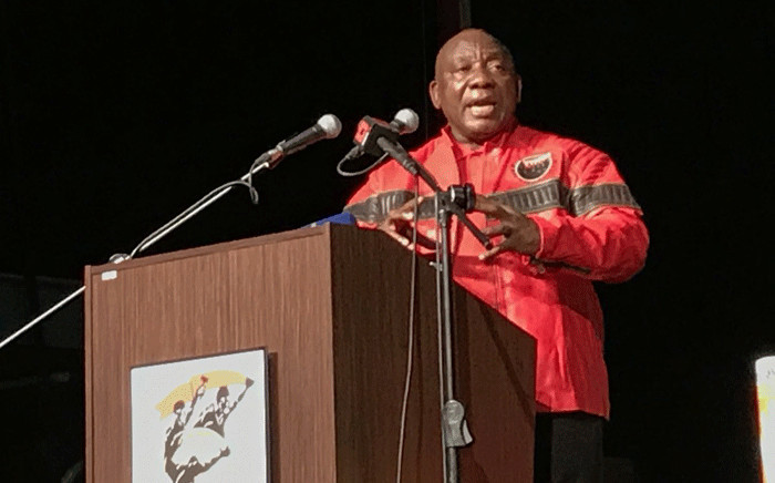 President Cyril Ramaphosa addresses the Cosatu Congress 2018 at Gallagher Convention Centre in Midrand. Picture: @MYANC/Twitter