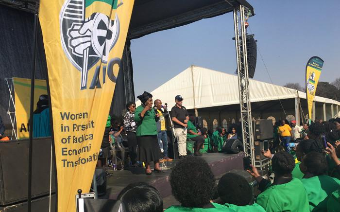 Nkosazana Dlamini-Zuma addressing the crowd at the ANCWL's umembeso and prayer gathering against women and children abuse in Ekurhuleni. Picture: Katleho Sekotho/EWN.