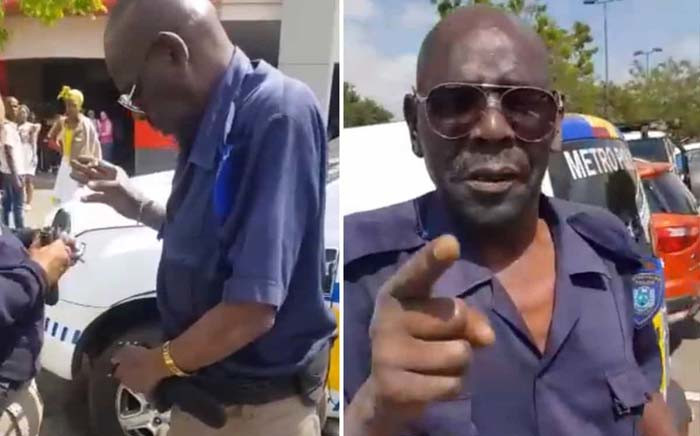 A screengrab of an Ekurhuleni Metro Police Department officer caught on camera seemingly under the influence of alcohol on 24 September 2019.