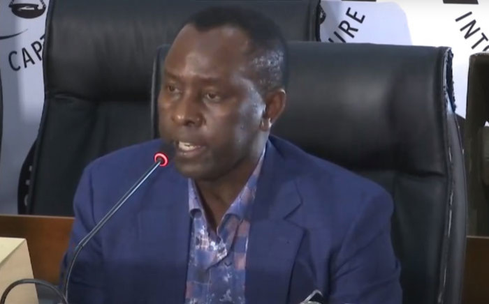 A screengrab of former Free State MEC Mosebenzi Zwane appearing at the state capture inquiry on 11 December 2020. Picture: SABC/YouTube