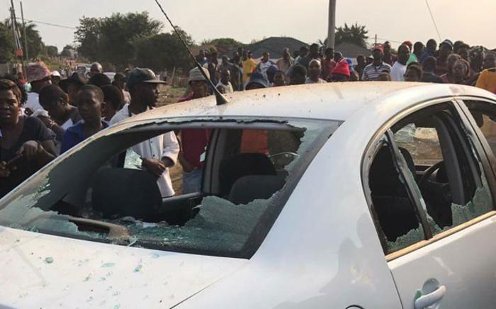 One the damaged SABC cars after tensions rose in Vuwani. Picture: Pelane Phakgadi/EWN