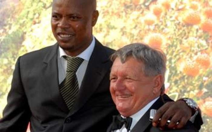 Former Bafana Bafana player, Phil Masinga and former national coach, Clive Barker at the FIFA 2010 Final Draw. Picture: Jeff Ayliffe/Eyewitness News