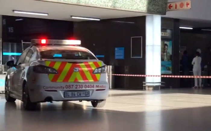 An emergency vehicle at the scene of a fire at Cape Town train station on 21 July 2018. Picture: EWN
