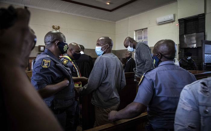 Sekola Matlaletsa and Sekwetje Mahlamba, the two suspects accused of murdering Brendin Horner, appear at the Senekal Magistrates Court on 16 October 2020. Picture: Abigail Javier/EWN